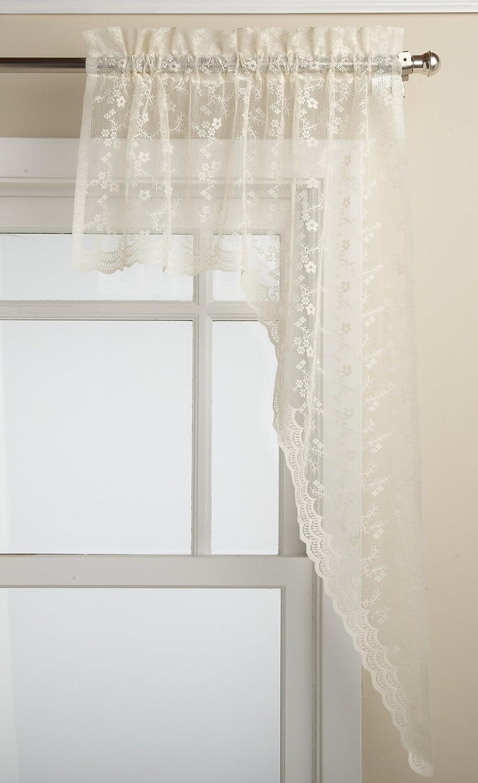 LORRAINE HOME FASHIONS Priscilla 60-inch x 38-inch Swag Pair, Ivory