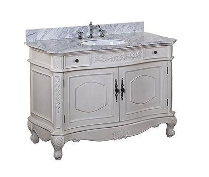 23ac5896212 Versailles 48-inch Bathroom Vanity (Carrara Antique White)  Includes  Italian Carrara