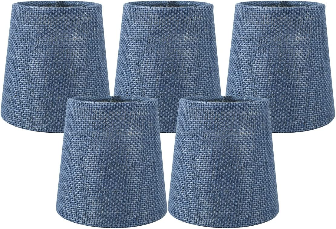 Meriville Set of 5 Denim Blue Burlap Clip On Chandelier Lamp Shades, 3.5-inch by 4.5-inch by 4.5-inch