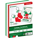 Printworks Holiday Cardstock, 67lb Heavyweight Cardstock, Includes Red, Green, and White Cardstock, 200 sheets total, Perfect
