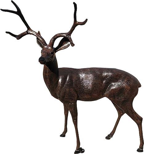 MJM Life Size Deer Buck Aluminum Garden Statue