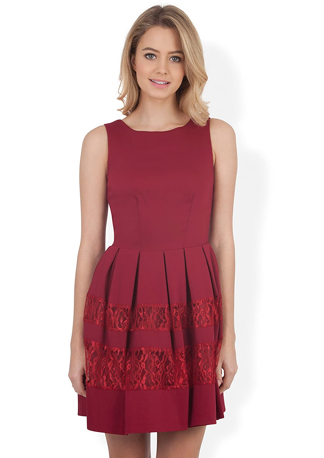 Closet Kensington Red Fit and Flare Dress With Lace Bands