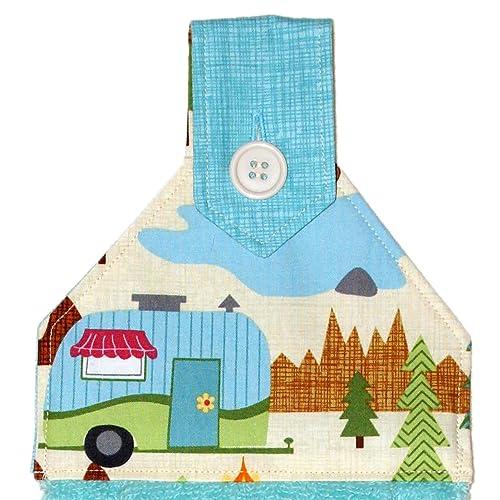 Amazon Com Camper Hanging Hand Towel Aqua Plush Towel With Button In Scenic Camper Print Rv Camping Decor Handmade