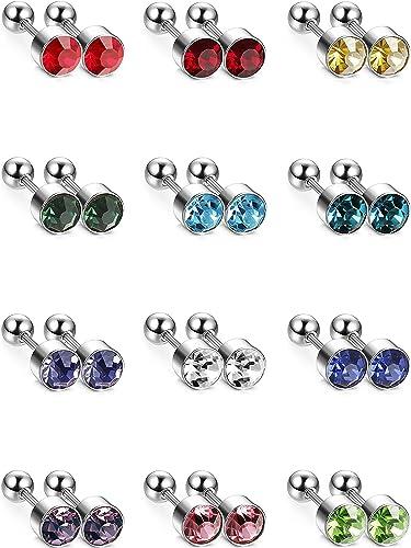 12 Pairs Stainless Steel Stud Earrings Zirconia Ear Piercing Studs, 12 Colors