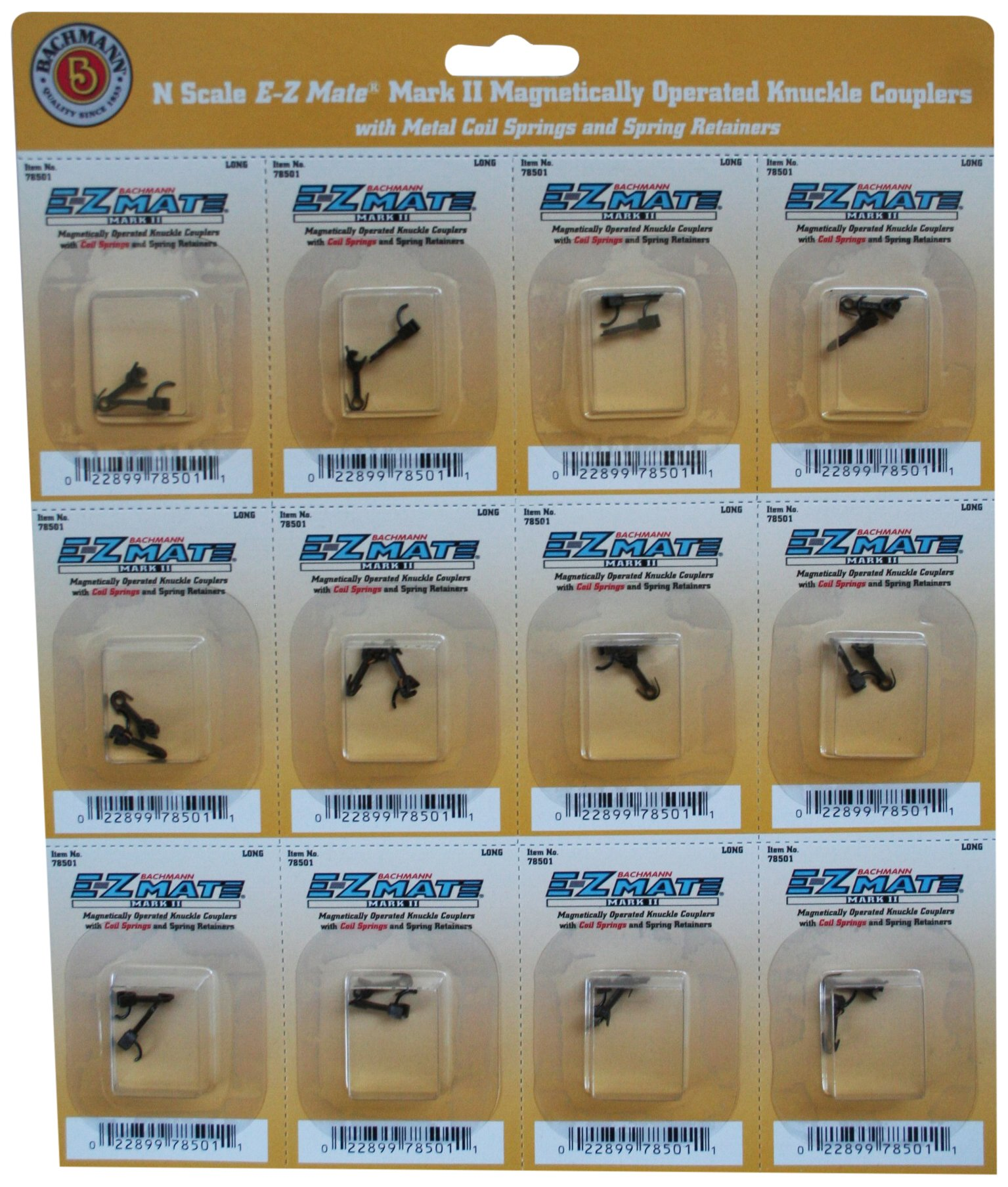 Bachmann Trains E - Z Mate Mark II Magnetic Knuckle Couplers with Metal Coil Spring - Short (12 Coupler pairs per card) - N Scale