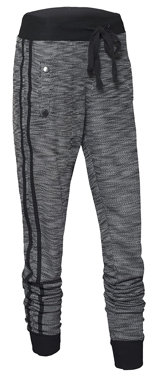 Women's Drawstring Waist Marled Knit Jogger Pants with Cuffed Ankle and Pockets