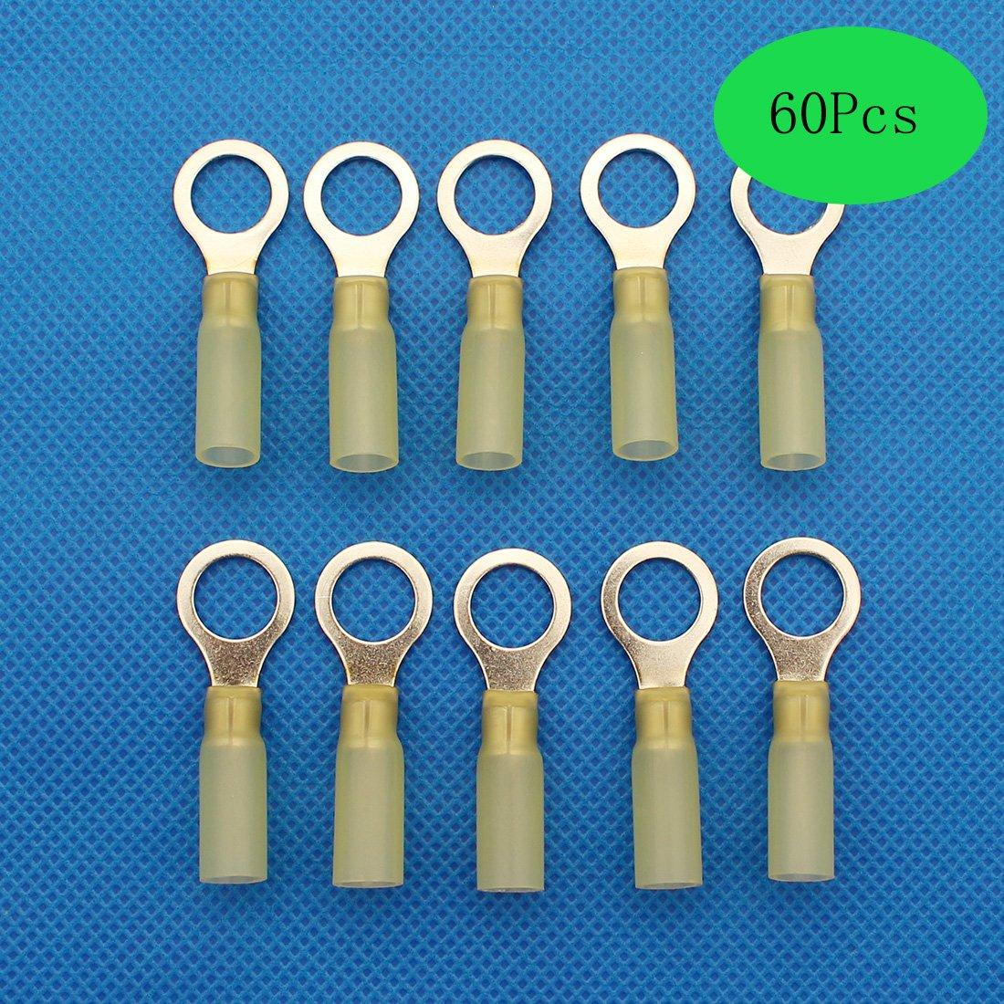 60Pcs Heat Shrink Connectors,Raogoodcx 12-10 GA Nylon Insulated Heat Shrink Ring waterproof wire connectors Marine Automotive Terminals Kit M10