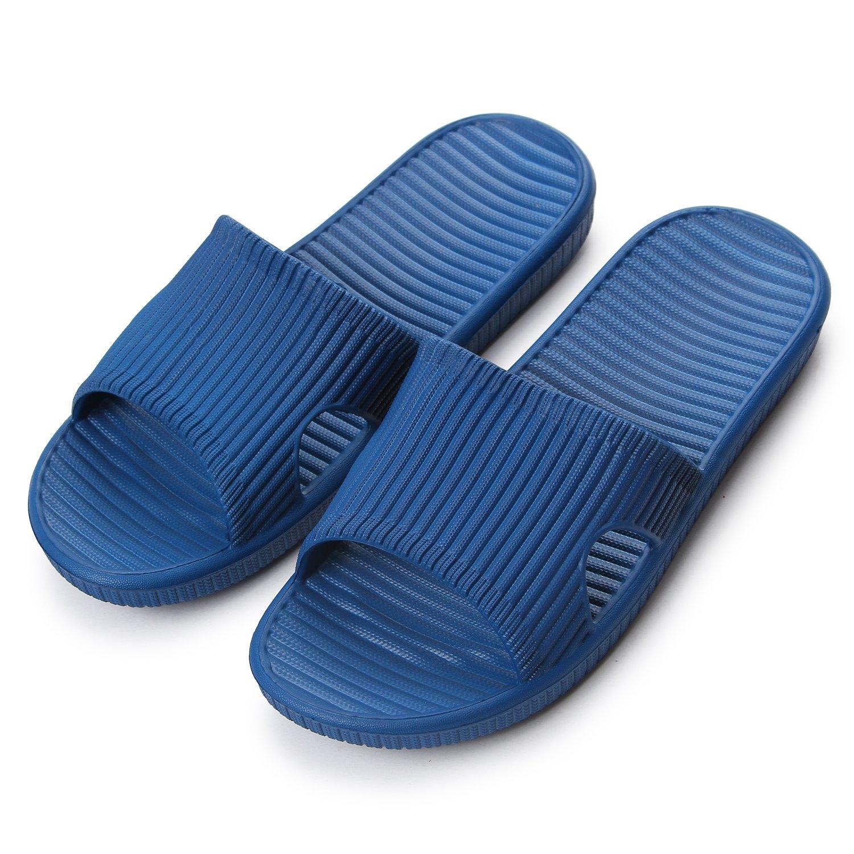 Maizun Slippers Non-Slip Shower Sandals House Indoor Floor Slipper Slide Bath Shoes for Adult Couples (9-10.5 US/ 10.85'' Foot, 43-44, Navy Blue)