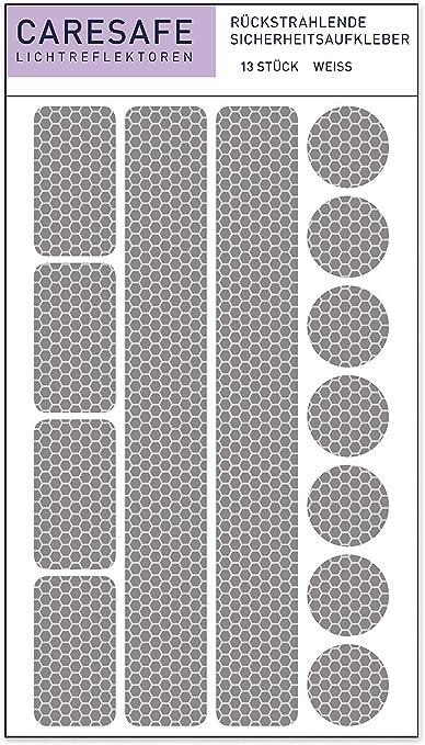 Caresafe Reflektierende Licht Reflektoren Aufkleber Weiß 13 Reflektorenaufkleber Set Für Kinderwagen Fahrrad Und Helme Reflektor Leuchtaufkleber Sticker Sport Freizeit