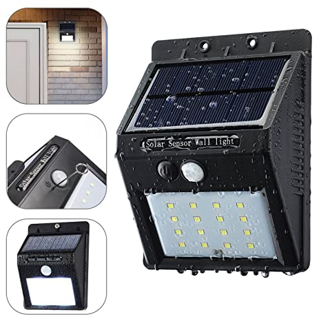 [ Upgrade 16 LED ] HanLuckyStars Solar Luz de LED Foco con Sensor de Movimiento para