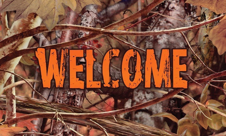 Camo Brown Wildlife Hunter Orange Welcome 18 X 30 Inch Floor Mat Rug