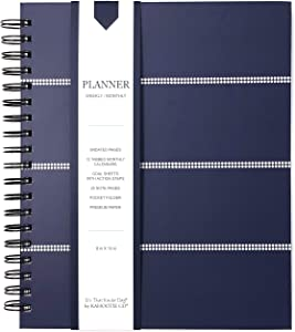 Kahootie Co Undated Monthly/Weekly Hard Cover Planner with 25 Note Pages (Navy Stripe 8x10)