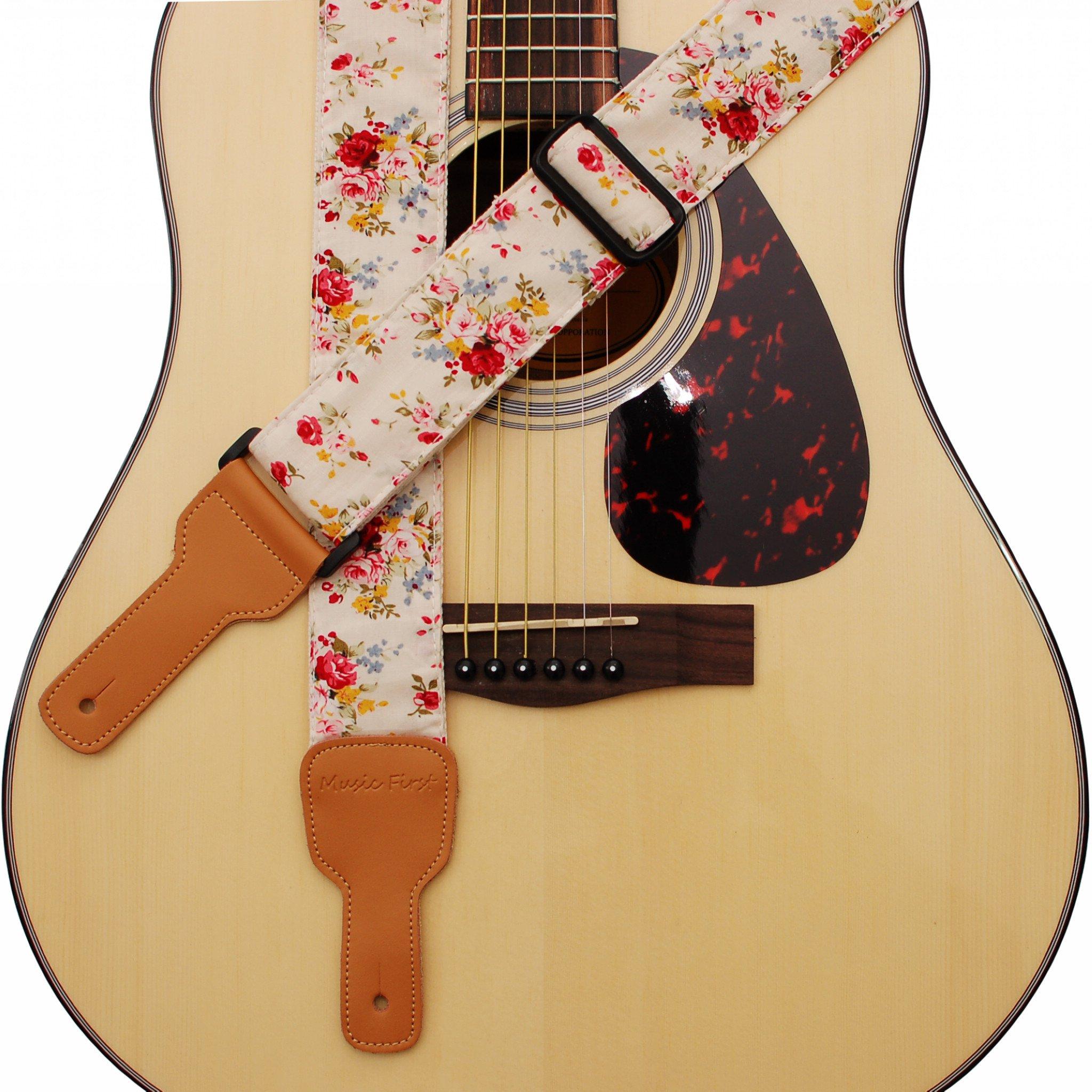 "MUSIC FIRST Original Design ""Rosa Multiflora in Cream"" Padded Soft Cotton & Genuine Leather Guitar Strap, Banjo Strap"