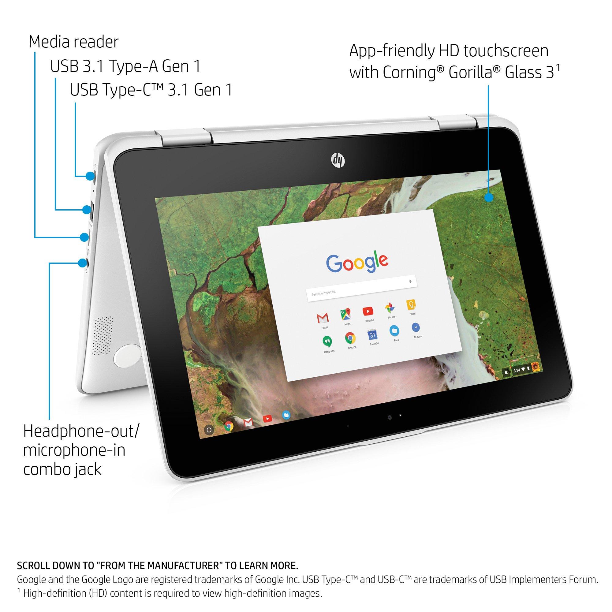 HP Chromebook x360 11-inch Convertible Laptop, Intel Celeron N3350, 4GB RAM, 32GB eMMC storage, Chrome OS (11-ae040nr, White) by HP (Image #2)