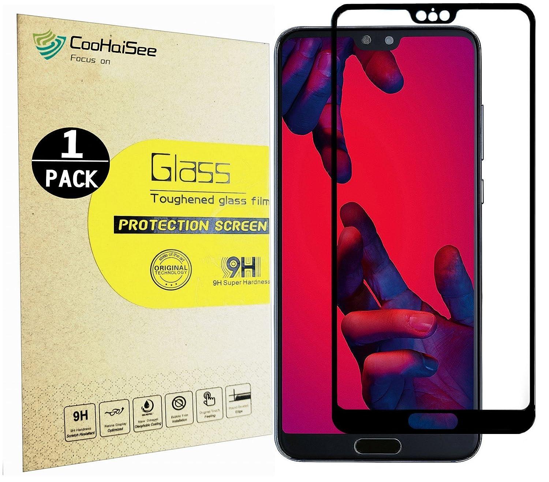 Huawei P20 Protector Pro Screen, CooHaiSee [0,3mm, 3D] [Sem bolhas] [Dureza 9H] [Instalação fácil] [HD Limpar] Proteção de tela de vidro temperado para Huawei P20 Pro
