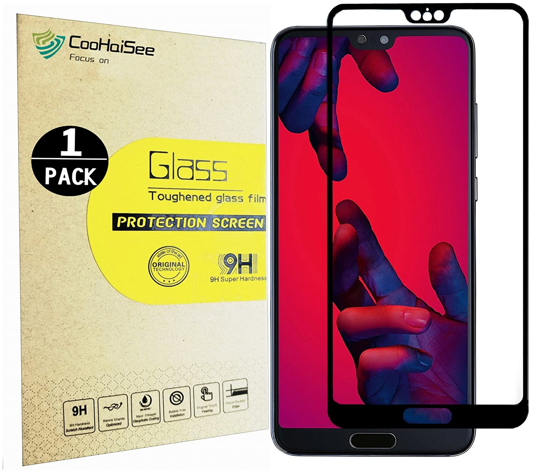 Протектор экрана Huawei P20 Pro, CooHaiSee [0,3mm, 3D] [Bubble Free] [Твердость 9H] [Прост в установке] [HD Clear] Закаленное стекло для защиты экрана для Huawei P20 Pro