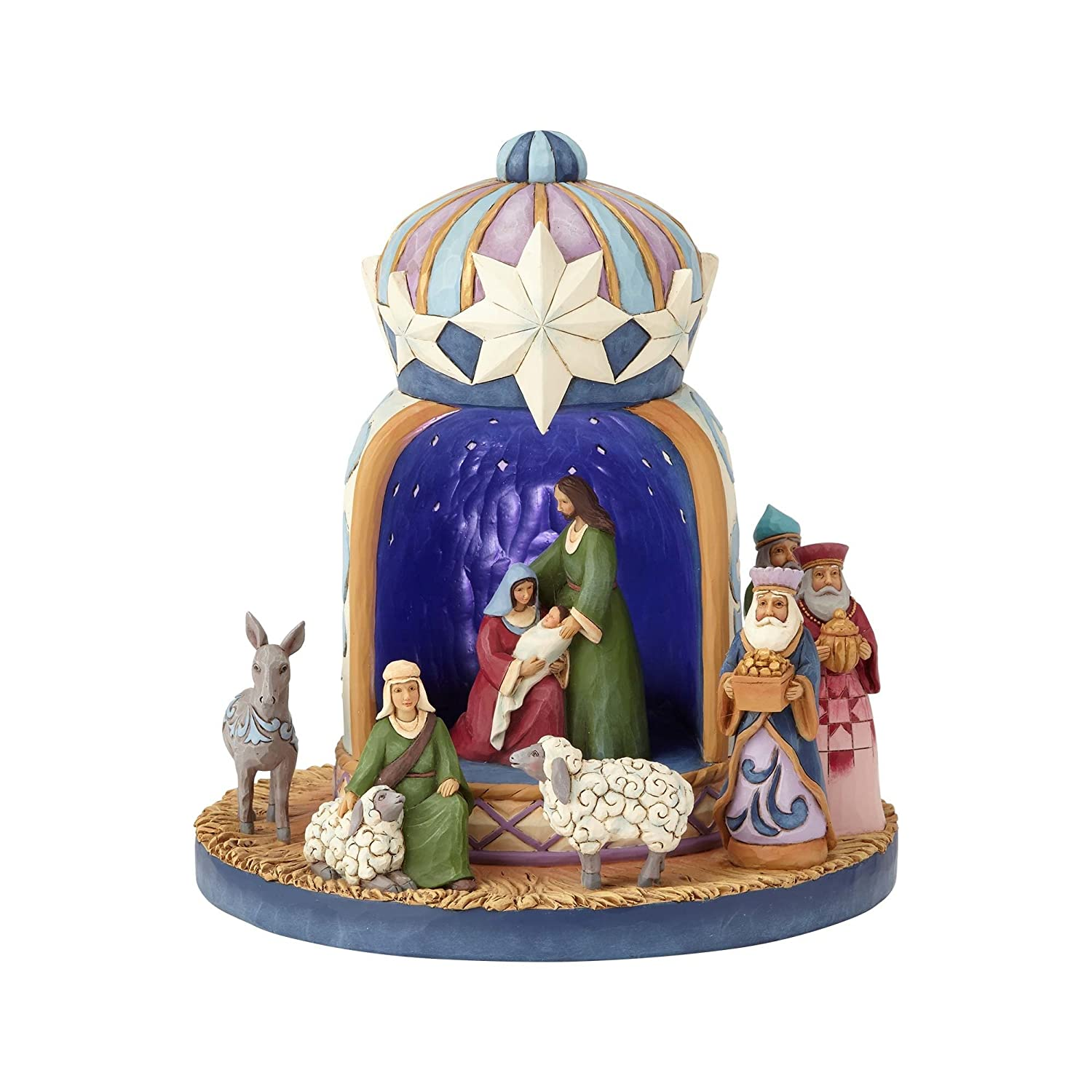 Enesco Jim Shore Heartwood Creek Lighted Nativity Crown, 8 Figurine
