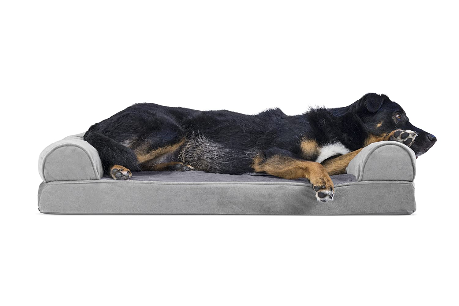 Smoke G  LargeFurHaven Gel Foam Quilted Dog Couch Sofa Bed for Dogs and Cats, Silver G , Large