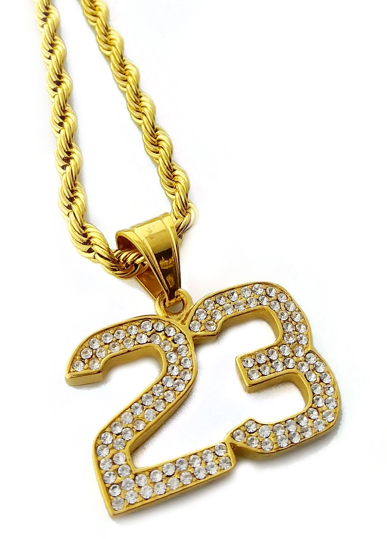 Iced Out Number 23 Pendant Stainless Steel Necklace with 24'' Rope Chain (Gold) by Exo Jewel