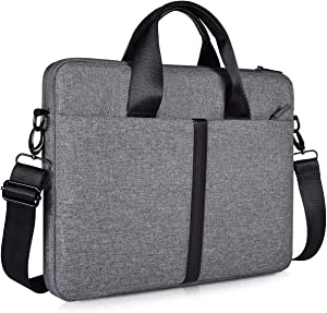 14-15 Inch Waterproof Laptop Shoulder Bag, Men Women Briefcase for HP Pavilion X360 14/Chromebook 14, Lenovo Thinkpad X1 Carbon, Acer Chromebook 14, Surface Laptop 3/Book 3 15 Inch Carrying Case, Gray
