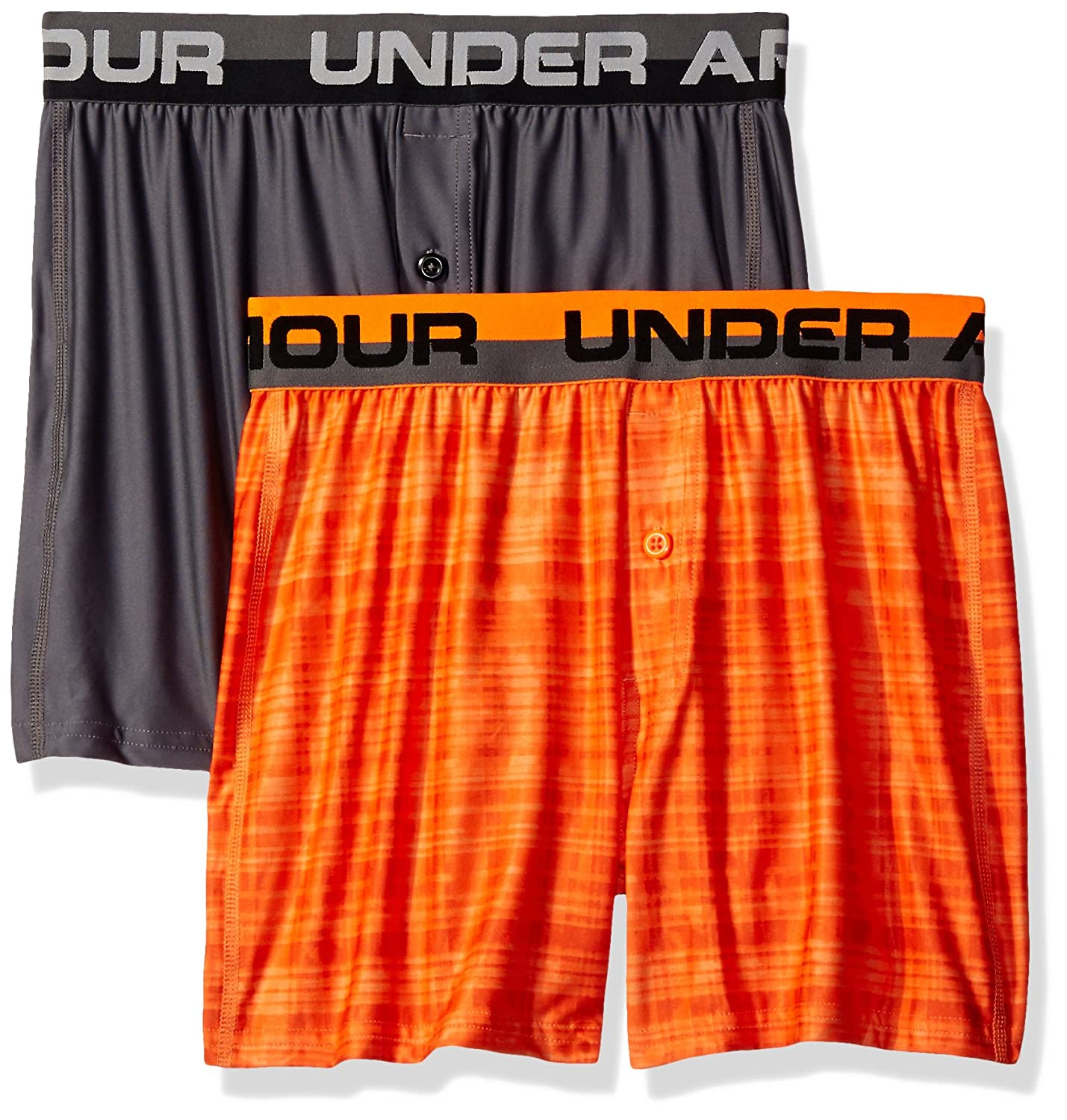 Under Armour Boys' Original Series Boxer Shorts 2-Pack Mandarin/Graphite Youth X-Small Under Armour Apparel 1277182
