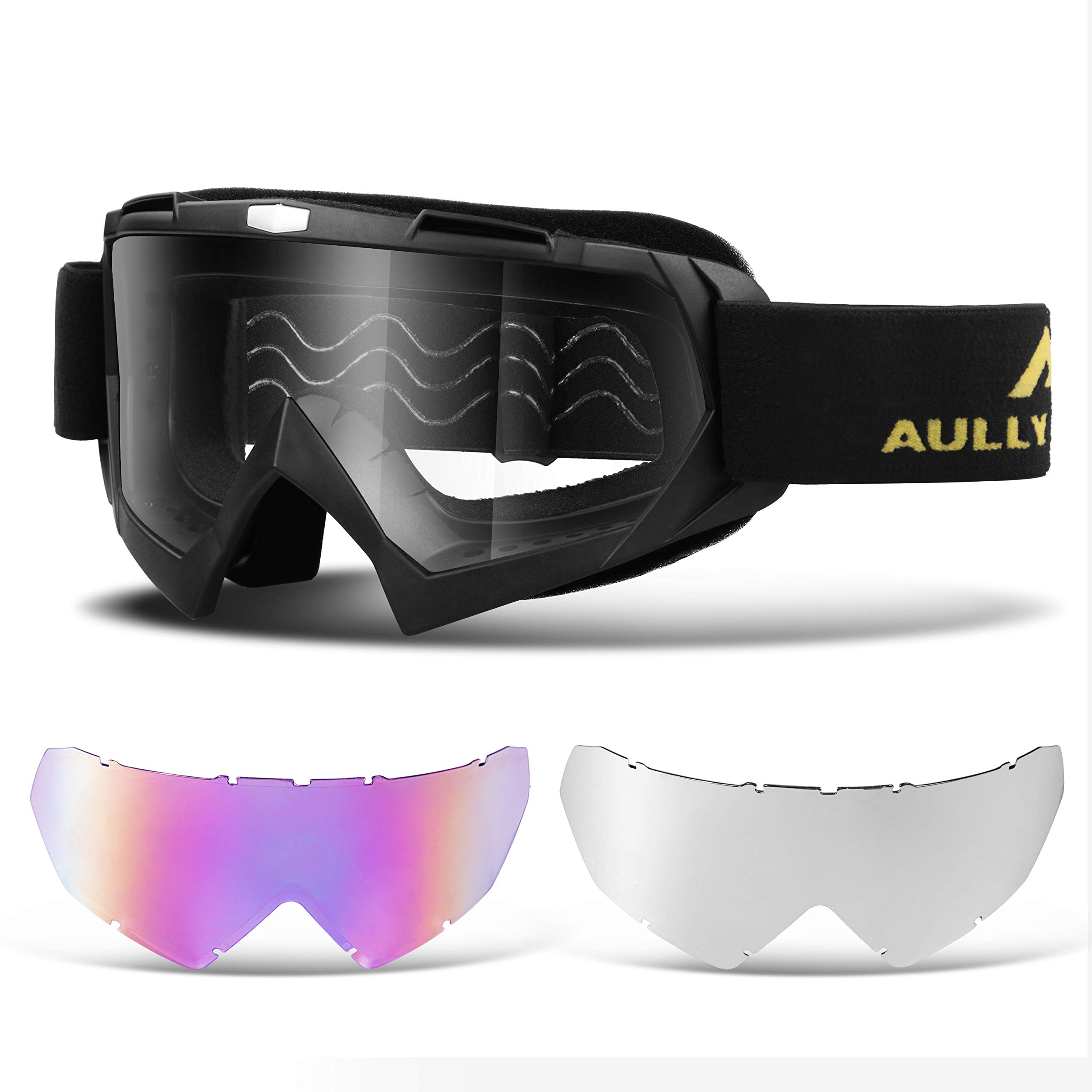 AULLY PARK Motorcycle Motocross Goggles ATV Racing Goggles Dirt Bike Mx Goggle Glasses with 3 Lens Kit Fit for Men Women Youth Kids