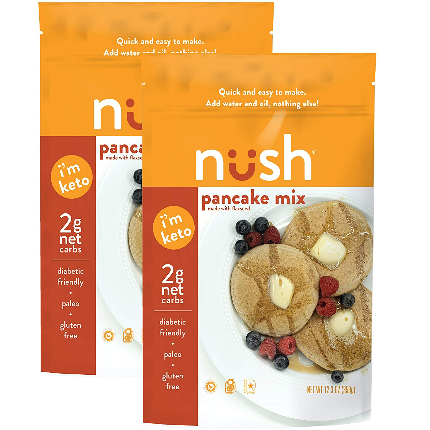 KETO Pancake Mix by Nush Foods (Original) – (2 Pack) - Gluten Free, Grain Free, Paleo, Sugar Free, High Omega 3, Diabetic Friendly, Healthy, Vegetarian, Low Glycemic, Dairy Free, Low Net Carb