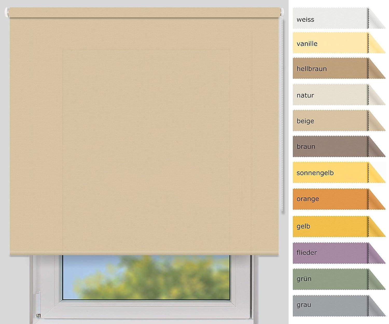 EFIXS Sichtschutzrollo Medium - 25 mm Welle - Farbe  beige - Größe  220x190cm (Stoffbreite x Höhe) - weitere Standard-Größen im Angebot wählbar