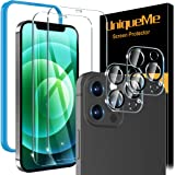 [2+2 Pack] UniqueMe Compatible For iPhone 12 Pro Max [6.7 inch] Screen Protector + Camera Lens Protector Tempered Glass, 9H [