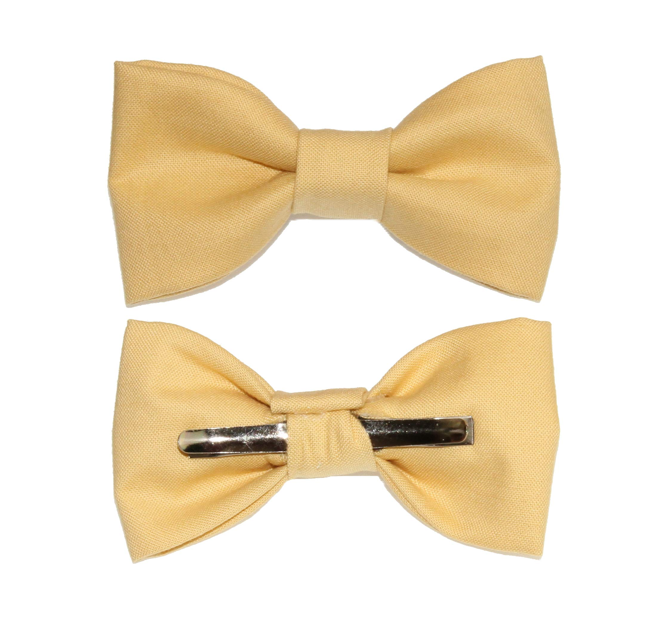 Toddler Boy 3T 4T Mustard Yellow Clip On Cotton Bow Tie - Made In The USA