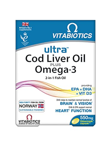 e854aa885f950 Amazon.com  Ultra 2 in 1 Omega-3   Cod Liver Oil 60 Caps  Health ...