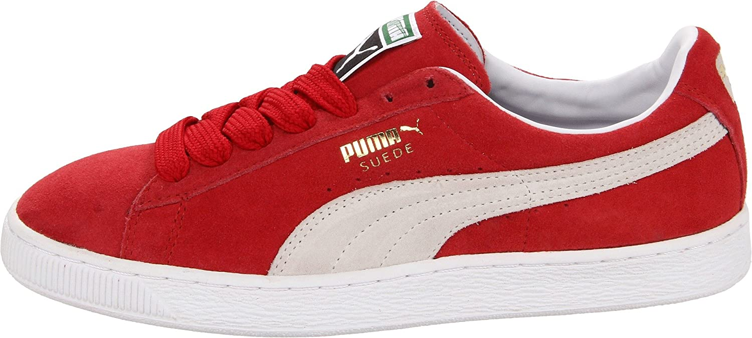PUMA Adult Suede Classic Shoe B0058XHMCI 12.5 D(M) US|Team Regal Red/White