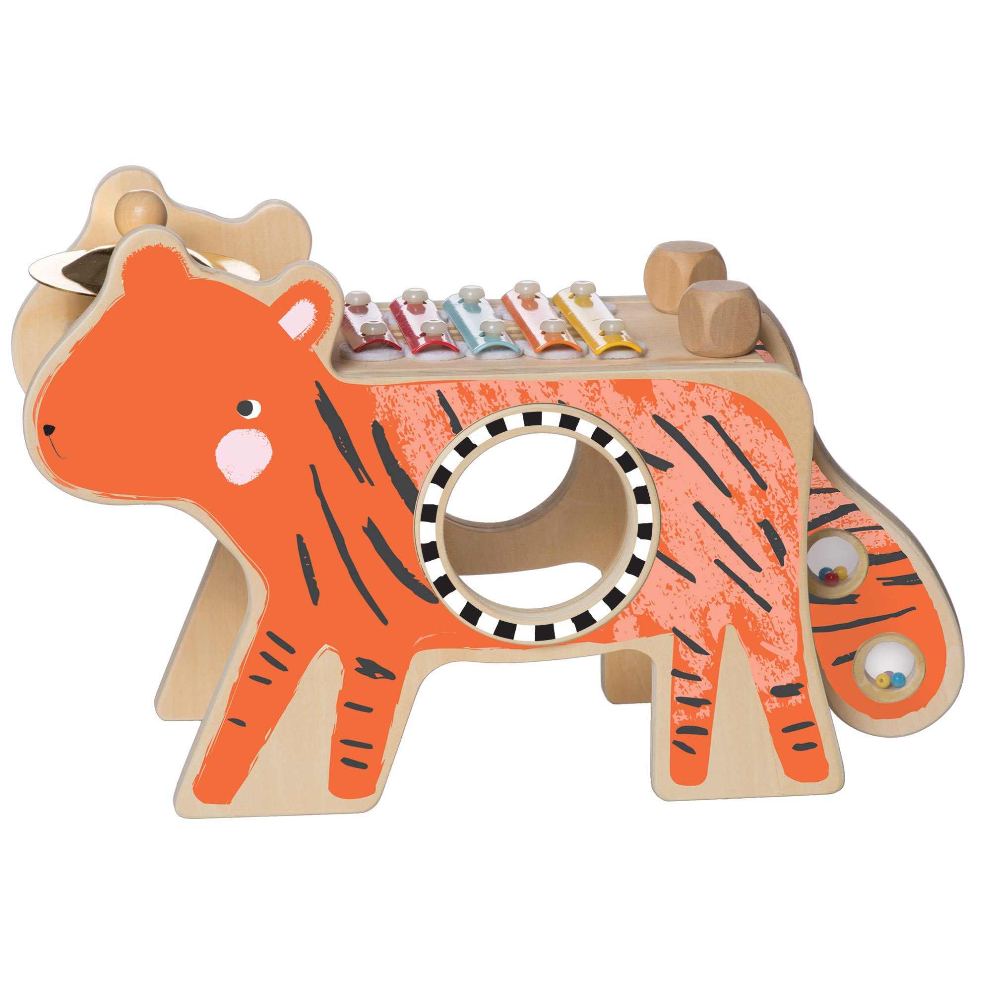 Manhattan Toy Musical Tiger Wooden Instrument for Toddlers with Xylophone, Drumsticks, Cymbal and Maraca by Manhattan Toy