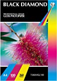 Black Diamond A4 Professional Grade Gloss Photo Paper - 260 gsm, 100 sheets, A Hi Resolution brilliant White Glossy Photopaper for those special print jobs