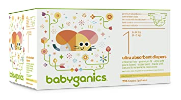 Babyganics Ultra Absorbent Diapers Economy Pack, Size 1, 232 Count