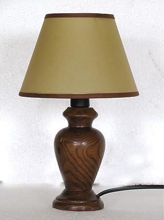 Lámpara de mesa de madera torneada con pantalla; producción ...
