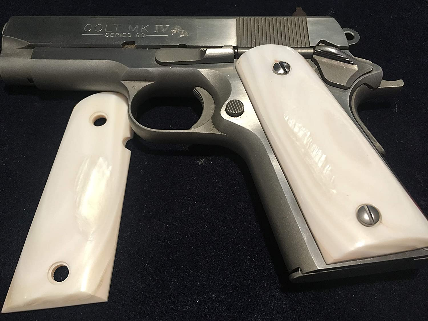 1911 COMPACT GRIPS GENUINE PEARL ,#042,FITS 3-4 INCH BARREL COLT DEFENDERS, OFFICERS ,CLONES