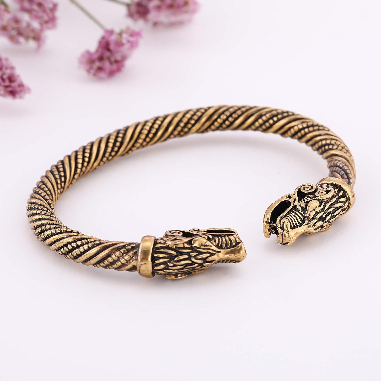 Viking T/ête de dragon en m/étal Bracelet de manchette Bracelet Vis de n/œud celtique irlandais
