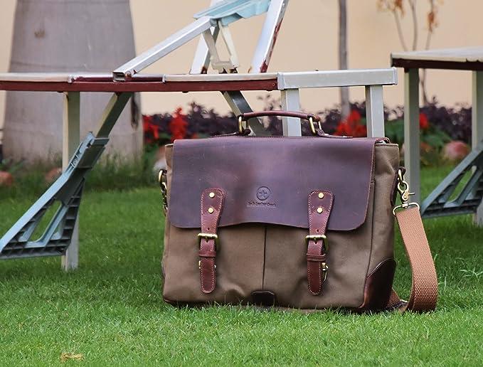 Aaron Leather Goods 纯手工制作 真皮拼接帆布 13.3寸电脑包 公文包 6.8折$37.49 海淘转运到手约¥358