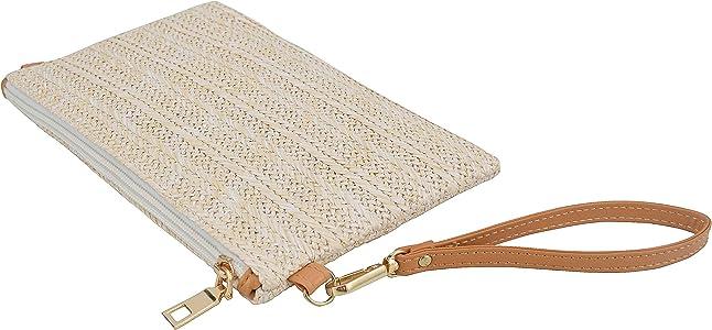 Straw Zipper Small Cross body bag Wristlet Clutch Womens Purse Brown