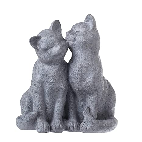 PINE AND PAINT LLC Cat Statue Loving Cats Indoor Outdoor Grey Stone Finish
