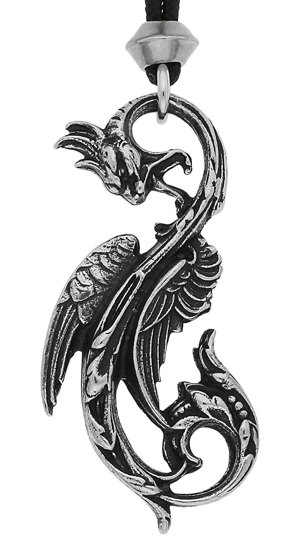 Gothic Dragon of the Moon Art Nouveau Pewter Pendant