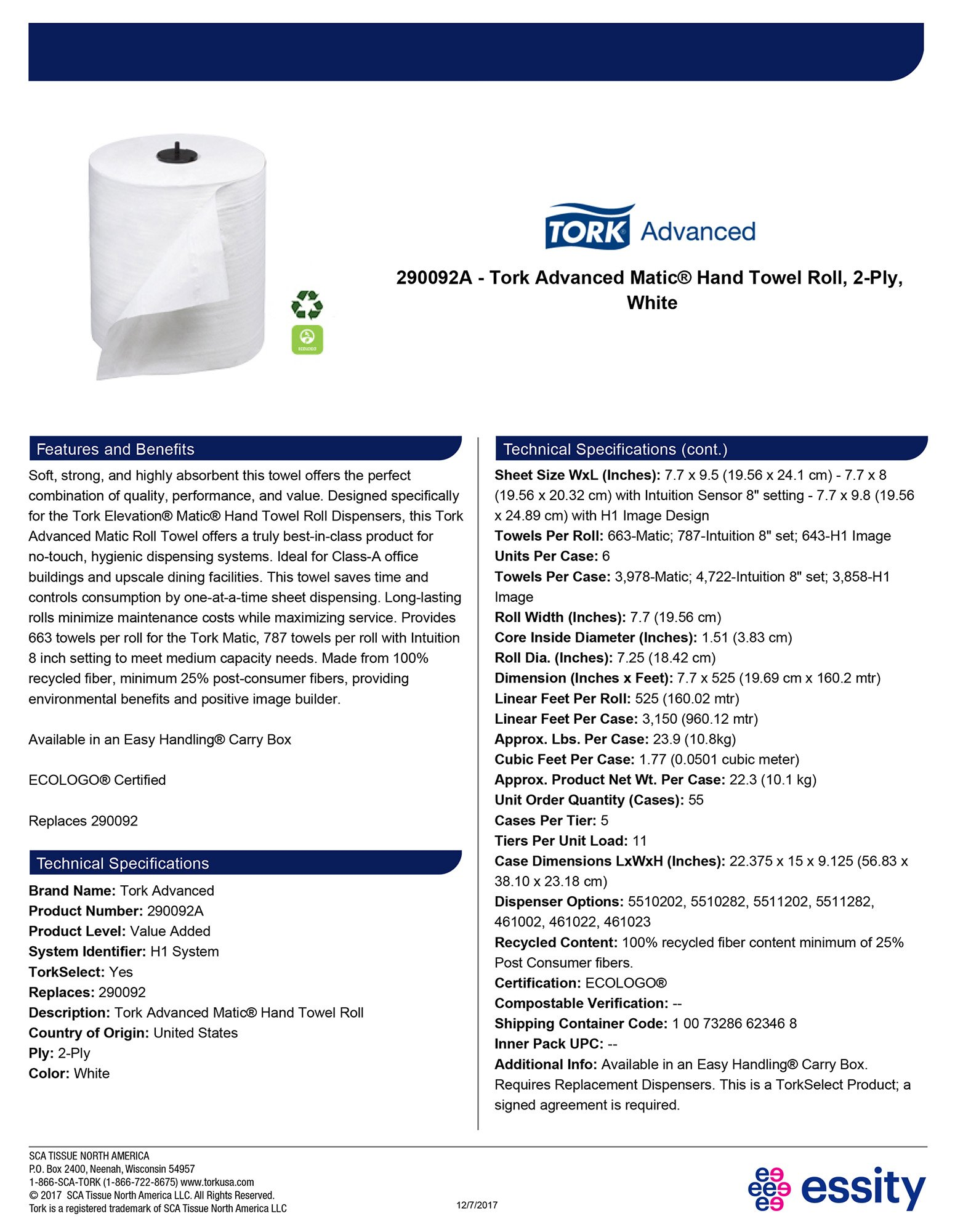 Tork 290092A Advanced Matic Paper Hand Towel Roll, 2-Ply, 7.7'' Width x 525' Length, White, (Case of 6 Rolls, 525 Feet per Roll, 3,150 Feet) by Tork (Image #4)