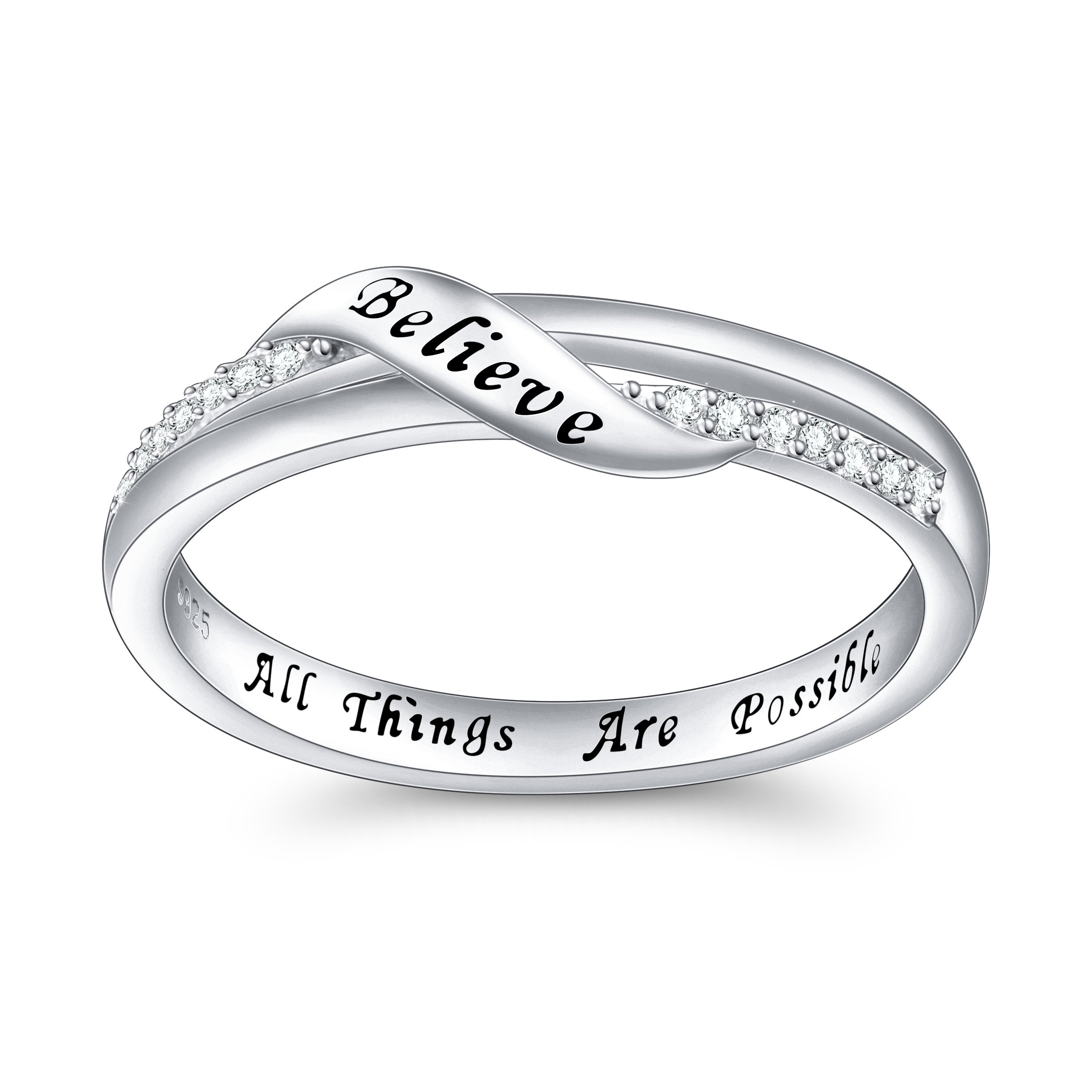 DAOCHONG Inspirational Jewelry Sterling Silver Engraved Believe All Things are Possible Band Ring for Women Girl, Size 6-8 (8) by DAOCHONG