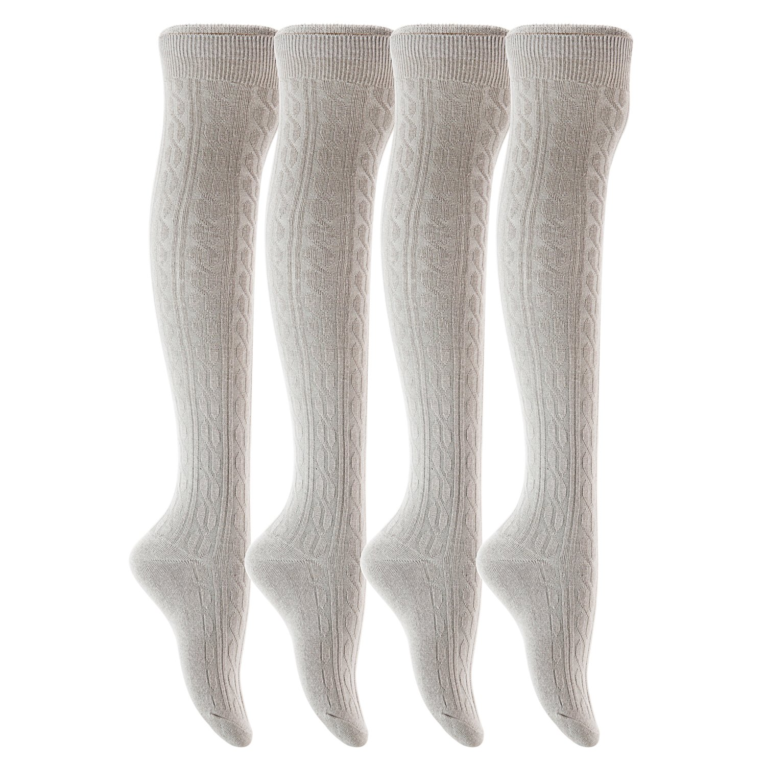 Light Grey AATMart Women's 4 Pairs Over KneeHigh Thigh High Cotton Socks Size 69