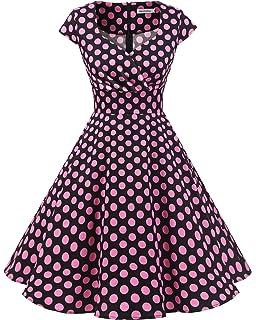 bbonlinedress Women s Vintage 1950s cap Sleeve Rockabilly Cocktail Dress  Multi-Colored 8fbfa85e439