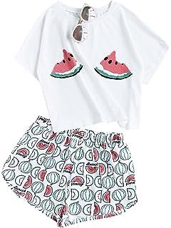 Floerns Womens Printed Short Sleeve Pajamas Top and Shorts Sets