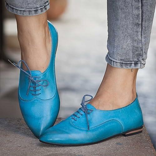 3665e2ff7af70 Amazon.com: Turquoise Women's Handmade leather Oxford Shoes: Handmade