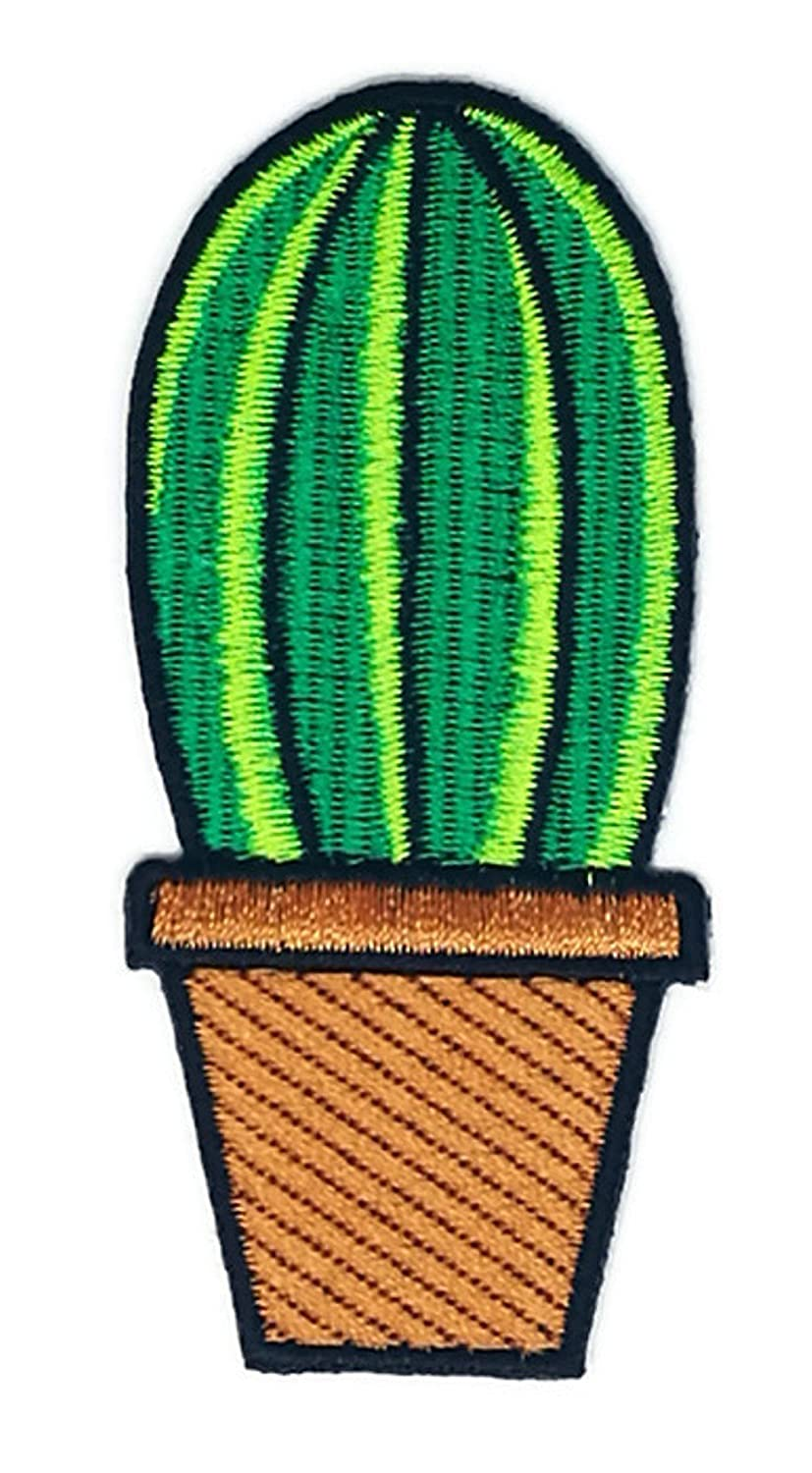 Cactus Brown Flowerpot Cartoon Sign Hippie Retro Biker Jacket T-shirt Vest Patch Sew Iron on Embroidered Badge Custom Iron on patches