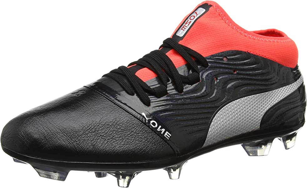 3ad64387a40 Puma Men s s ONE 18.2 FG Football Boots Black Silver-Red Blast 6 UK ...